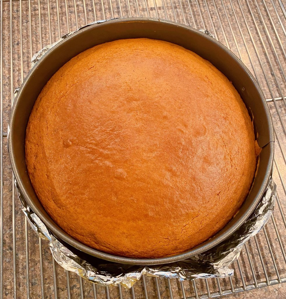 Cake cooling on the cooling rack for 10 minutes.