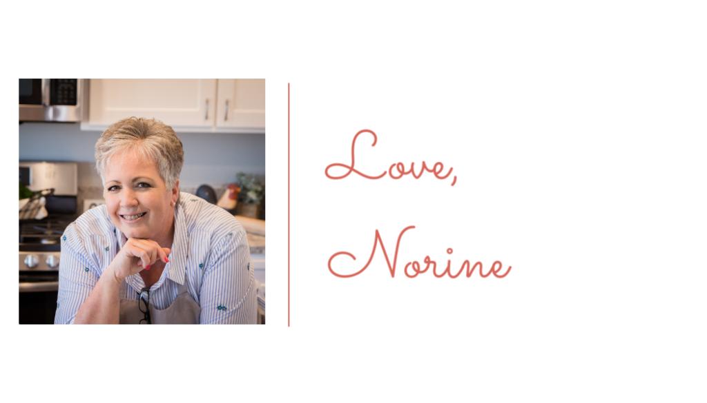 "Photo of Norine with her signature ""Love Norine""."