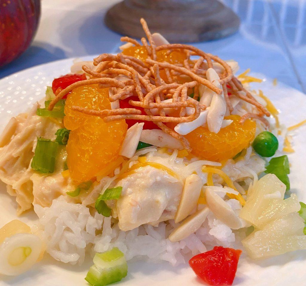 Hawaiian Haystack on a plate.